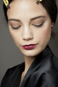 Taupe Eyes & Mauve Lips Backstage at Dolce & Gabbana Spring/ Summer 2015 RTW Beauty