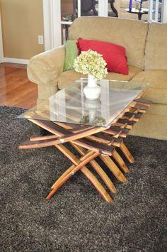 Unique Oak Wine Barrel Coffee Table with Glass Top. $435.00, via Etsy.