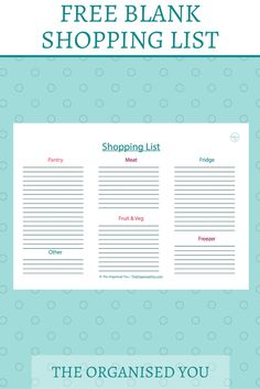 FREE blank shopping list {The Organised You}