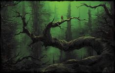 Greenish forest with his guardian?