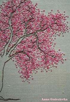 cherry blossom embroidery by Anna Gnieciecka Diy Bead Embroidery, French Knot Embroidery, Basic Embroidery Stitches, Embroidery On Clothes, Embroidery Flowers Pattern, Creative Embroidery, Simple Embroidery, Hand Embroidery Designs, Embroidery Saree