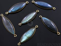 Natural Labradorite Bezel Marquise Component 24K by Beadspoint, $11.99