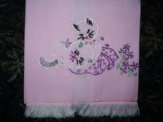 7 Day Of Week Cat Kitty Embroidery Vintage Serving Towels