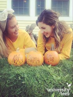 If you don't get a picture with sorority pumpkins, is it really even fall? | Alpha Gamma Delta | Made by University Tees | www.universitytees.com