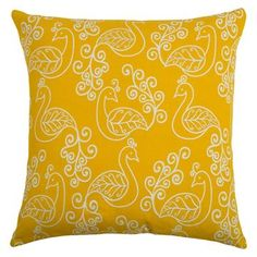 Preening Peacocks Throw Pillow (20 x 20) - Rizzy Home