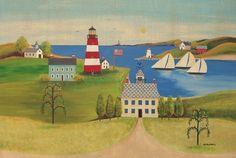 Folk Art Folk Art Painting Coastal Lighthouse by TheCoastalSoul