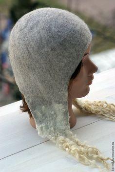"""Купить Шапка валяная """"Север"""" - темно-серый, шапка, шапка-шлем, шапка-ушанка"""