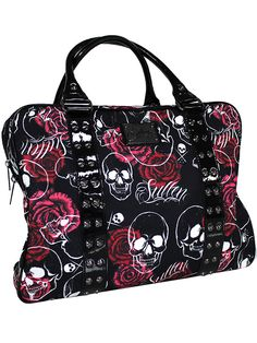 """Rose Skull"" Handbag by Sullen Clothing (Black) #InkedShop #bag #skull #roses #studs #b2s #backtoschool #purse #handbag"