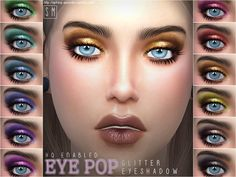 The Sims Resource: Eye Pop  - Glitter Eye Shadow by Screaming Mustard • Sims 4 Downloads