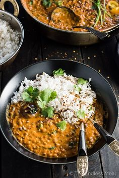 This easy to make Creamy Coconut Lentil Curry takes less than an hour to make (mostly hands off time) and is packed full of delicious Indian flavors. It's a healthy vegan recipe that makes a perfect meatless Monday dinner recipe. Make extras and you'll ha Curry Recipes, Veggie Recipes, Indian Food Recipes, Whole Food Recipes, Cooking Recipes, Healthy Recipes, Healthy Indian Food, Chicken Recipes, Pasta Recipes