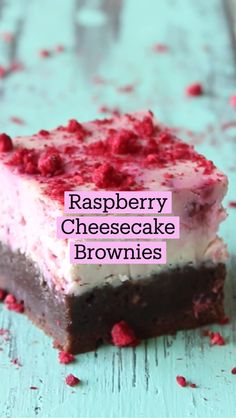 Fun Desserts, Delicious Desserts, Yummy Food, Fun Baking Recipes, Sweet Recipes, Brownie Recipes, Cheesecake Recipes, Cupcakes, Raspberry Cheesecake