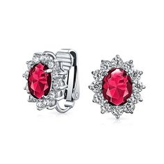 Bling Jewelry Oval CZ Bridal Clip On Earrings Crown Setting Rhodium Plated *** Read more  at the image link.
