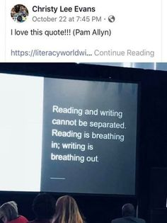 Reading and writing cannot be separated Reading is breathing in; writing is breathing out The post Reading and writing cannot be separated Reading i… appeared first on Woman Casual - Life Quotes Writing Advice, Writing A Book, Writing Prompts, Writing Ideas, Tips For Writing Poetry, Poem Quotes, Best Quotes, Life Quotes, The Words