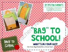 """Bag"" to School--All About Me Bags from First Grade Fun on TeachersNotebook.com (15 pages)"