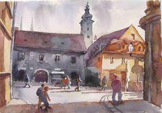 Tkalčićeva ,Zagreb, 55x38 ,akvarel