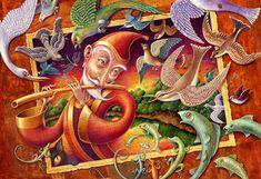 Magic Flute Music art print 10x16 Animal art by CuriousArtLab