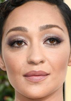 Close-up of Ruth Negga at the 2017 Golden Globe Awards.