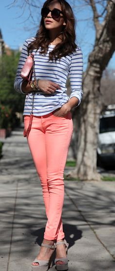 Coral jeans + stripes. Spring is almost here kids:) Coral love.