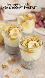 This Banana Nut Chia and Yogurt Parfait tastes just like a Banana Cream Pie!