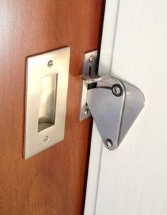 Brushed Stainless Steel Teardrop Lock (in un-locked position)