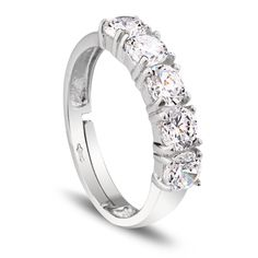 925 Sterling Silver Cubic Zirconia Five Stone Engagement Ring For Women Material: 925 Sterling Silver 925Wt: 2.10 gms Package Includes: 1 x Ring