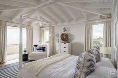 navy and white beach bedroom on English coast ~ Louise Jones design