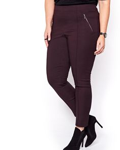 Gorgeous cut, excellent craftsmanship, perfect fit. Slip into this plus size ankle pant, the Alexa from the Michel Studio collection, for effortless style. Solid color, no waist, fake fly, diagonal exposed zippers, 29 inch length.