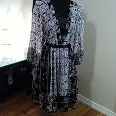 A.B.S. Dress Bandana style dress with black satin sash. The colors are black and white. Essentials by A.B.S. Dresses Maxi