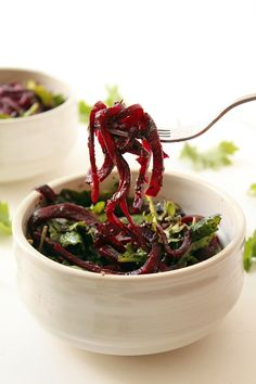 Roasted Beet Noodles with Pesto and Baby Kale Inspiralized | Inspiralized