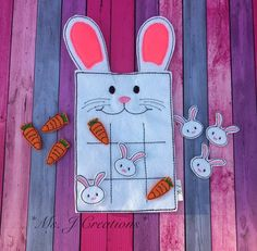 This listing is for a Bunny Felt Tic Tac Toe game.  *~* DESCRIPTION *~* ~ This game is made from Eco-friendly felt. ~ The board is soft and made