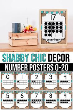 printable number posters with ten frames designed for your kindergarten, preschool or first-grade classroom. These poster cards will make learning 1-20 numbers fun, and kids will no longer look at math classes as a chore. Simple and attractive, these will help teachers decorate the classroom in a beautiful way. It will work perfectly with several classroom decor themes shabby chic, farmhouse and even rustic teal decorations. #numberposters #preschoolclassroomthemes Preschool Classroom Themes, Classroom Decor Themes, Classroom Organization, Classroom Door, Classroom Ideas, 10 Frame, Ten Frames, Teacher Created Resources, Math Resources