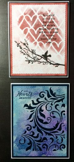 Stenciled background with very old stamps from years ago. First time both bird stamps have had ink! Bottom card one of my first attempts using Distress Oxide inks and smooshing. Tim Holtz flourish die with dark indigo Papertrey paper behind. Just Rite sympathy sentiment (I think)