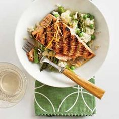 Salmon with Quick Spring Risotto | Coastalliving.com