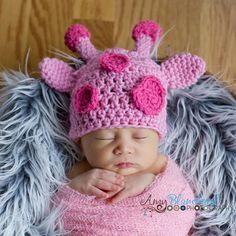 Petite Pink Giraffe Newborn Crochet Baby Hat