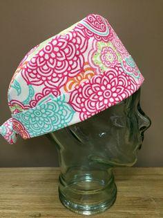 Tropical Sorbet Coloured Flowers Surgical Scrub Cap, Beautiful Women's Aqua, Pink & Orange Pixie Scrub Hat, Custom Caps Company by CustomCapsCompany on Etsy