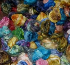 Soysilk roving handdyed  2 ounce Variety pack by dyeingforcolour, $10.00