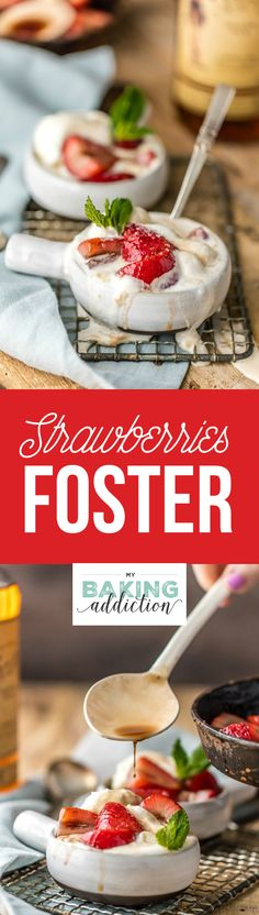 Strawberries Foster is thrown together in a matter of minutes and couldn't be more delicious! Move over bananas foster! ~ My Baking Addiction Creative Desserts, Great Desserts, Summer Desserts, Dessert Recipes, Breakfast Recipes, Strawberry Recipes, Everyday Food, Strawberries, Food And Drink