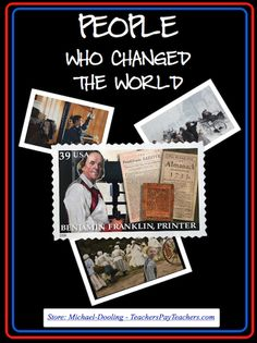 "FREE (Character Education) Educating children about people who have made contributions to society is a way of promoting character education. The posters and activities in this packet highlight people who impacted the lives of others. Discussions encourage critical thinking skills by engaging students in meaningful and personal reflection. Create a ""People Who Changed the World"" center. Display posters and student work."