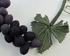 Black Grapes NecklaceStatement NecklaceBlack by needlecrochet