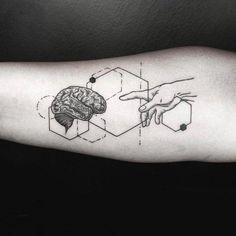 geometric line tattoo Unique Tattoos, Small Tattoos, Tattoos For Guys, Cool Tattoos, Symbolic Tattoos, Geometric Tattoo Pattern, Geometric Sleeve Tattoo, Geometric Tattoos, Line Tattoos