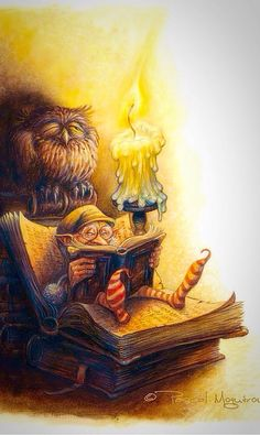 """It Says.....Stare At The Candle Till Your Eyes Go Funny, Then Go Straight To The Bank And Give Me All Your Money!"" ~ c.c.c~ Illustrator, Pascal Moguerou~ What is the gnome reading? / Qué estará leyendo el gnomo?"