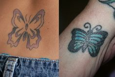 Learn about the different meanings behind the popular butterfly tattoo and check out beautiful butterfly tattoo designs & phtoos. Butterfly Tattoo Cover Up, Butterfly Tattoo Meaning, Butterfly Tattoo On Shoulder, Butterfly Tattoos For Women, Butterfly Tattoo Designs, Cute Butterfly, Foot Tattoos, Small Tattoos, Sleeve Tattoos
