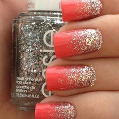 Cute for summer.Coral and glitter nail art