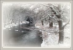 """Photo..... """"Winter Brook""""    by Joy Nichols  photo  edited with a watercolor process A  rural western Maine brook blanketed with recent snowfall. https://plus.google.com/u/0/photos/115081270281446878134/albums/posts/5953601481043475362?pid=5953601481043475362&oid=115081270281446878134"""