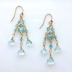 delicate hand-wired chandelier earrings with blue topaz and apatite by KKSparkles