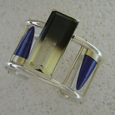 Cuff by Bill Wismar. Bi-color Citrine, Lapis, sterling silver and 14k gold.