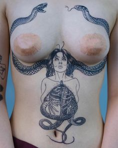 Aesthetical blackwork woman Looking at Snakes tattoo by @oozy_tattoo