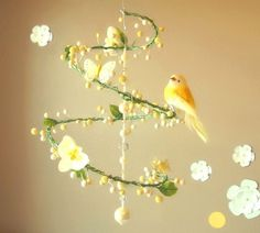 DIY crib mobile with vines, flowers & birds.