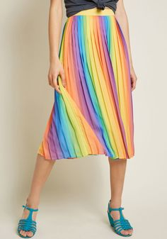 Beautifully Upbeat Pleated Midi Skirt in Rainbow in M by ModCloth