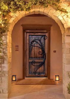 Ornamental Iron & Wood Door -